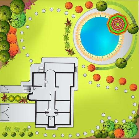 grass  plan: Color Plan of garden Illustration