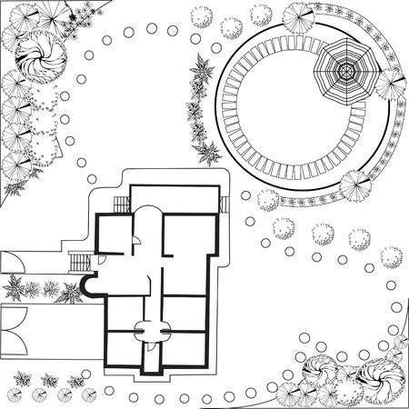 Plan van tuin zwart-wit