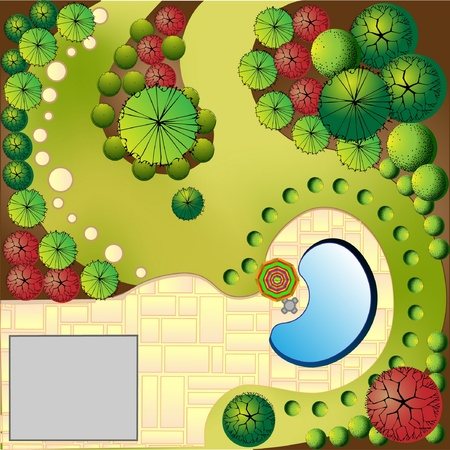herb garden: Colored Plan of garden with swimmingpool Illustration