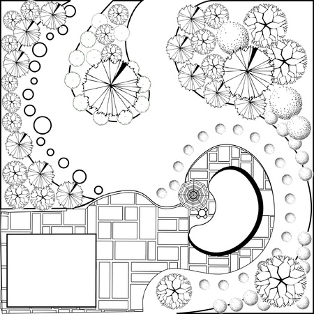 architect drawing: Plan of garden black and white