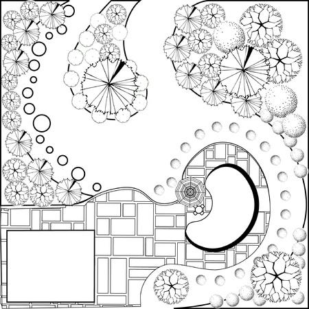 Plan van de tuin zwart en wit