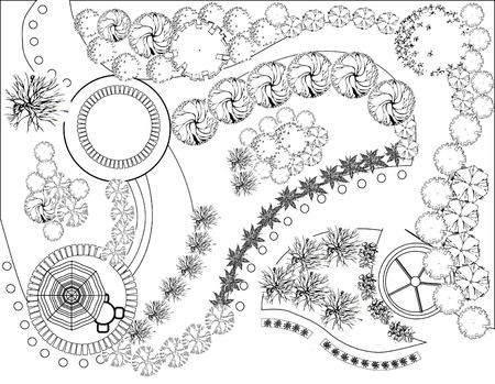 Plan de paisaje y jardín  Ilustración de vector