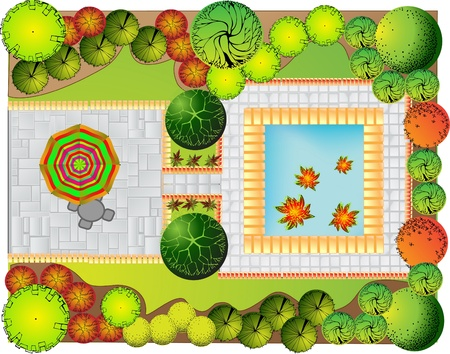 Colored Plan of garden decorative plants