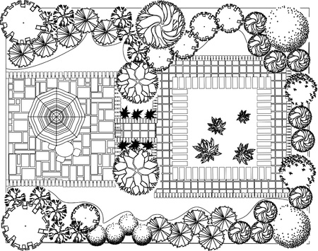 architect drawing: Plan of garden decorative plants black and white