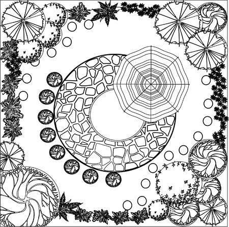 Plan de plantes décoratives de jardin noir et blancs
