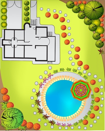 trough: Colored Plan of garden decorative plants
