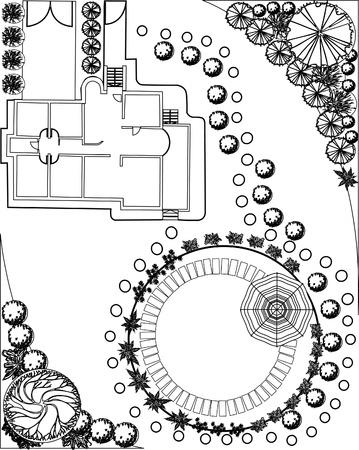 lan of garden decorative plants black and white Vector
