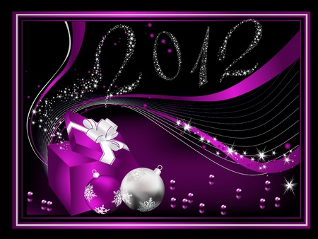 Happy New Year 2012 background silver and violet Stock Vector - 10068671