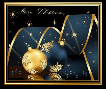 Marry Christmas  background blue and gold Vector