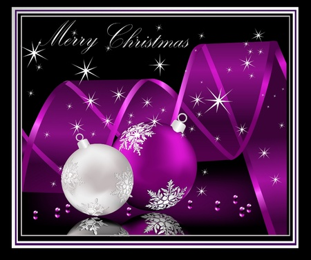 Merry Christmas  background silver  and violet Vector