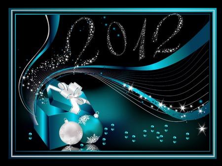Glückliches neues Jahr 2012 Hintergrund, Silber und blau