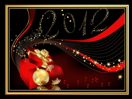 Happy New Year 2012 background, red and gold Stock Vector - 10319957