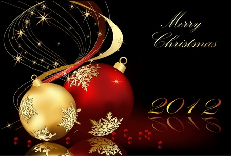 Merry Christmas  background gold and red Vector