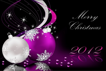 Merry Christmas  background silver  and violet Stock Vector - 10560389