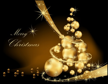 크리스마스 트리 골드와 블랙 일러스트