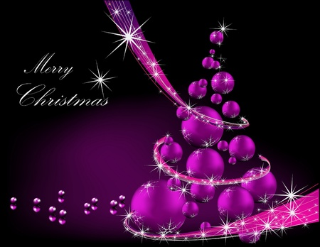 Christmas tree violet and silver Vector