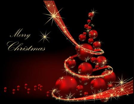 Kerstboom gouden en rood Stock Illustratie