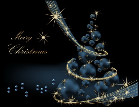Christmas tree gold and blue Vector