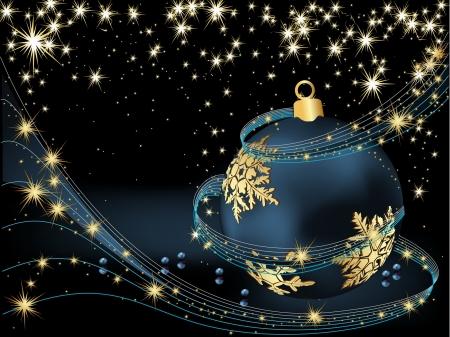 Merry Christmas achtergrond goud en blauw
