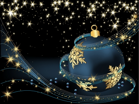 Merry Christmas  background gold and blue