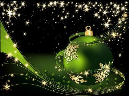 Merry Christmas achtergrond goud en groen Stock Illustratie