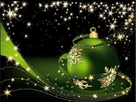 Merry Christmas  background gold and green Vector