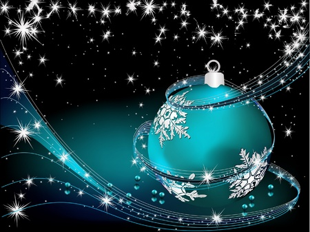 Merry Christmas  background silver and blue Illustration