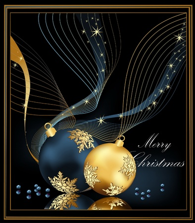 Christmas background gold and blue Stock Vector - 10653525