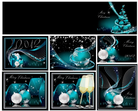 Merry Christmas background collections silver and blue Vector