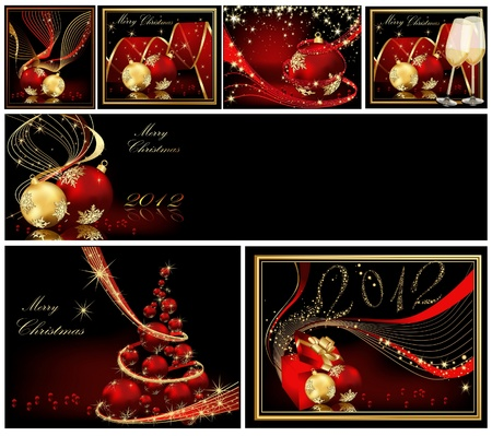 Merry Christmas background collections gold and red Illustration