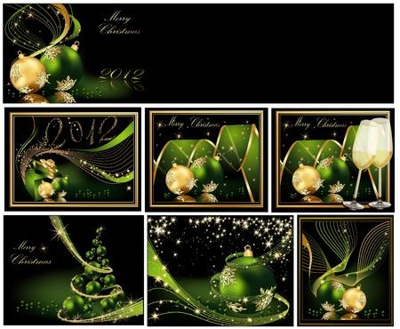 Merry Christmas Hintergrund Sammlungen Gold und Grün