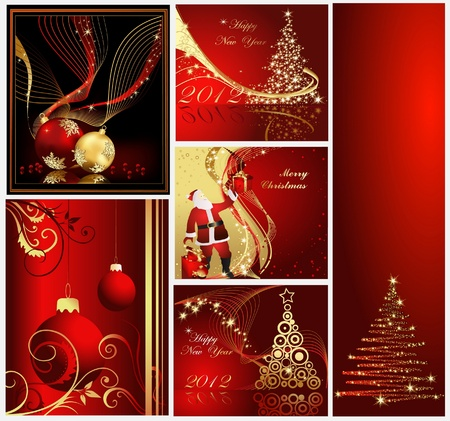 Merry Christmas and Happy New Year collection gold and red Stock Vector - 10919564