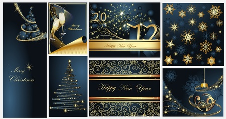 Merry Christmas and Happy New Year collection gold and blue Stock Vector - 10919562