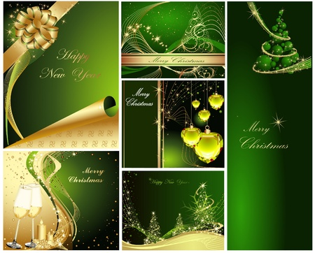 Merry Christmas and Happy New Year collection gold and green Stock Vector - 10919563