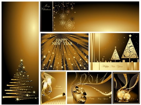 Gold Merry Christmas and Happy New Year collection  Stock Vector - 10919566