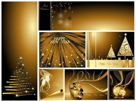 Gold prettige kerstdagen en gelukkig Nieuwjaar collection