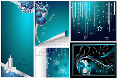 Merry Christmas and Happy New Year collection silver and blue Stock Vector - 10919567