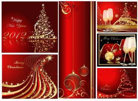 Merry Christmas and Happy New Year collection gold and red
