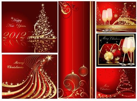 Vrolijke Kerstmis en gelukkig Nieuwjaar collectie Gouden en rood