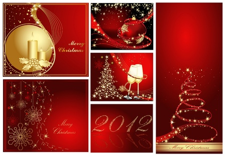 Merry Christmas and Happy New Year collection gold and red Vector