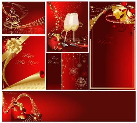 Frohe Weihnachten und Happy New Year Sammlung Gold und Rot Illustration