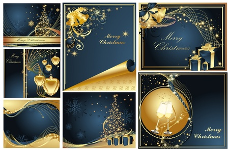 Merry Christmas and Happy New Year collection gold and blue Stock Vector - 10981716