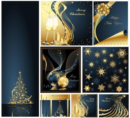 메리 크리스마스, 해피 뉴 컬렉션 금색과 파란색 일러스트