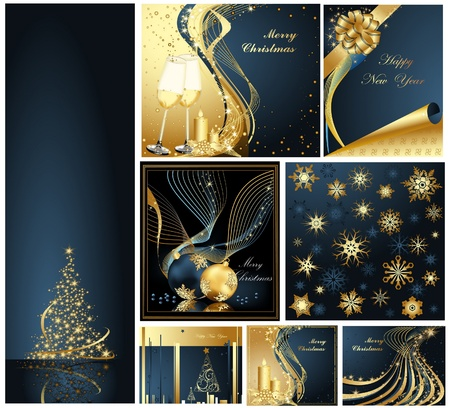 Merry Christmas and Happy New Year collection gold and blue Vector