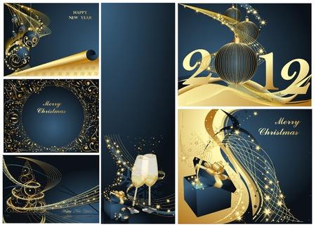 Vrolijke Kerstmis en gelukkig Nieuwjaar collectie goud en blauw Stock Illustratie