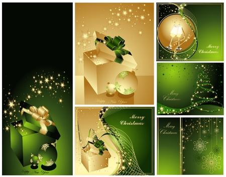 Frohe Weihnachten und Happy New Year Sammlung Gold und Grün Illustration