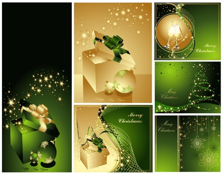 Merry Christmas and Happy New Year collection gold and green Illustration