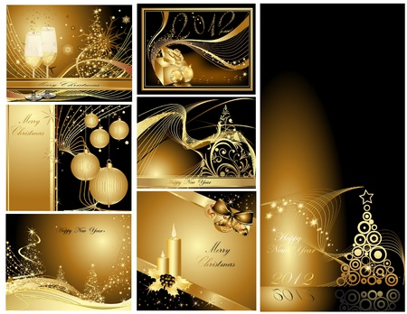 Gold Merry Christmas and Happy New Year collection  Stock Vector - 10981720