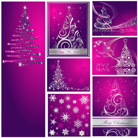 Merry Christmas and Happy New Year collection silver and violet Vector
