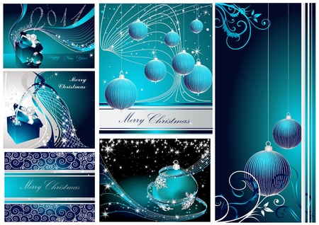 Merry Christmas and Happy New Year collection silver and blue Vettoriali